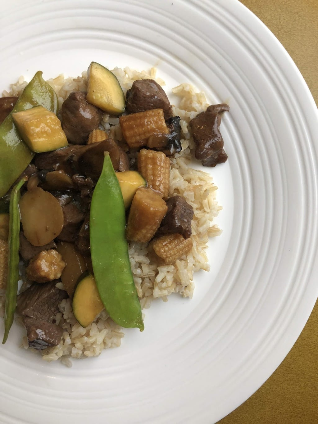 Beef and Snow Pea Stir Fry Dinner on plate
