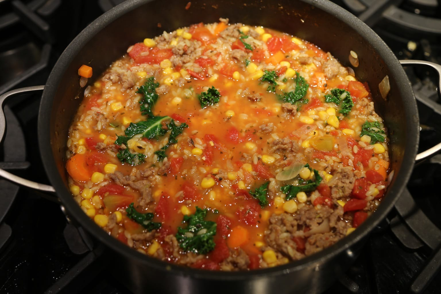 Sausage Orzo Soup in pot