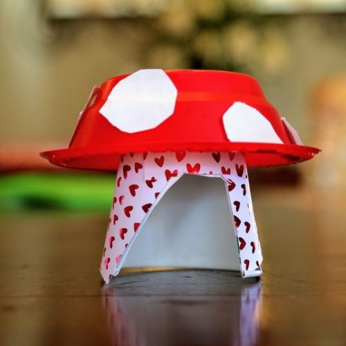 mushroom craft decorated with red hearts