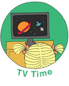 "illustration called ""TV Time"" of child with pigtails watching a screen with planets and stars on it"