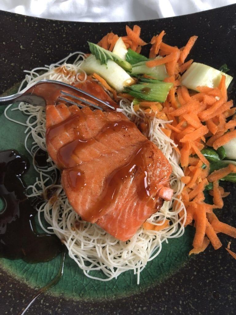 Teriyaki Salmon with Baby Bok Choy on plate