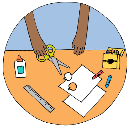 circle with blue background, table with art supplies and little hands holding scissors and cutting paper