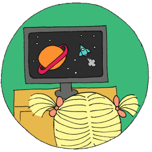circle with green background of pigtailed child watching a space tv show