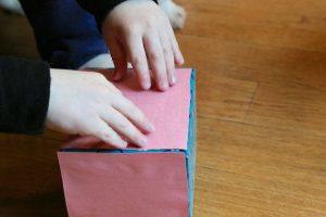 covering tissue box with pink paper