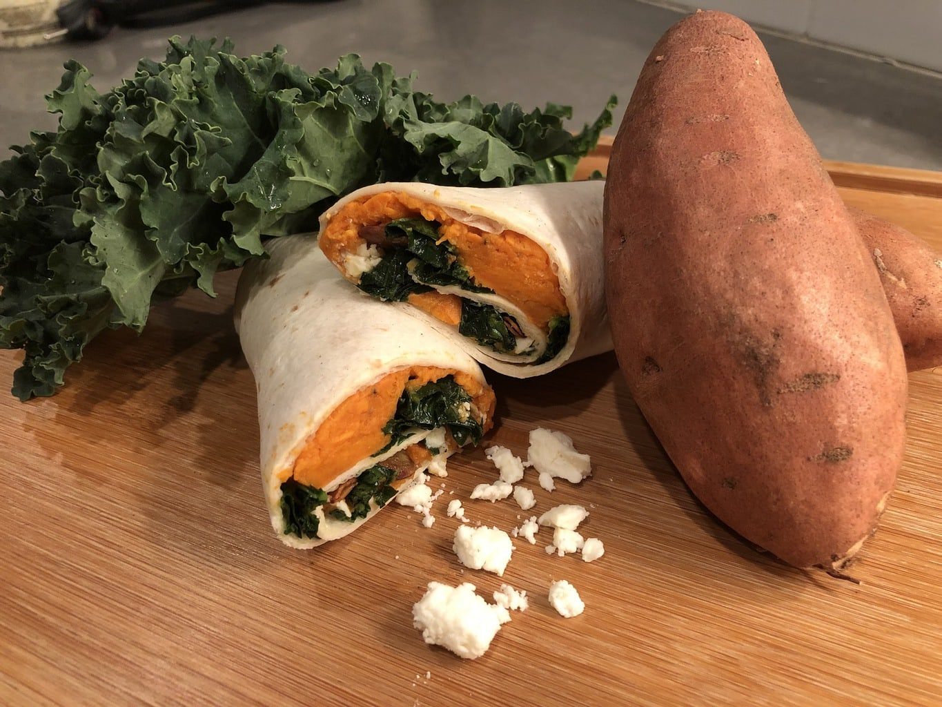 Sweet Potato, Kale & Feta Wrap
