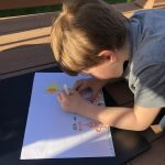 Child drawing spring landscape