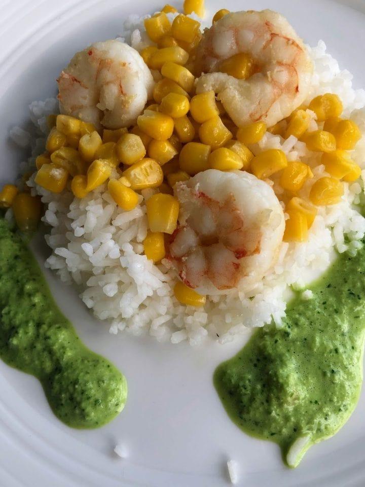Shrimp with corn in creamy poblano pepper sauce