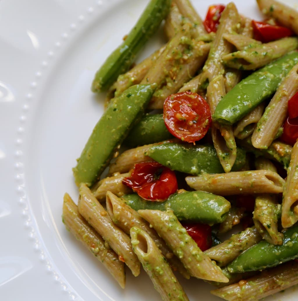 Pesto Penne Pasta with Sugar Snap Peas