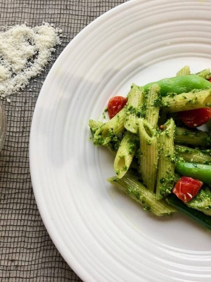 pesto penne with extra cheese