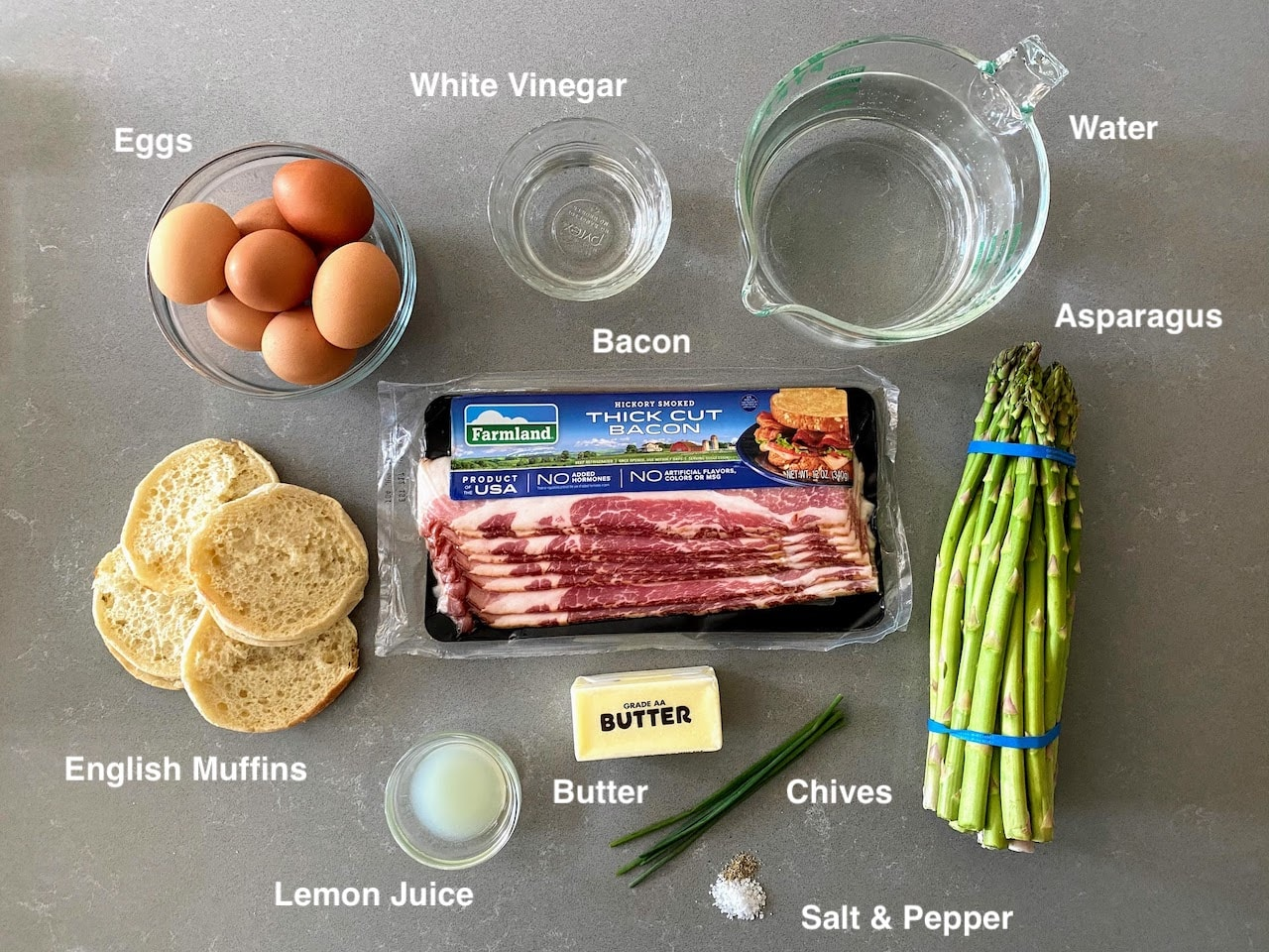 all ingredient to make eggs benedict with bacon and asparagus