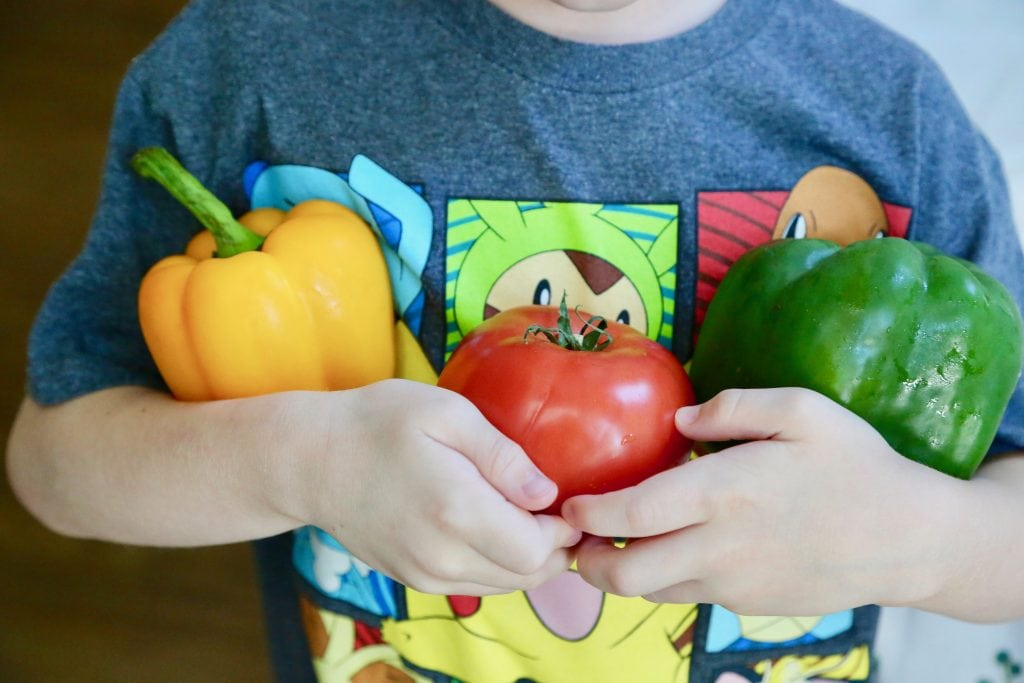 child holding bell  peppers and tomato