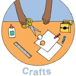 "illustration called ""Crafts"" with child's hands holding scissors, over table filled with craft supplies"