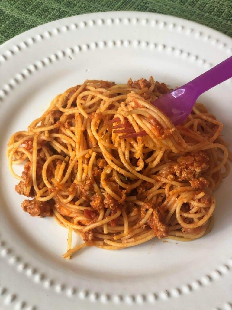 Simple Spaghetti with Turkey Marinara & Hidden Veggies in bowl