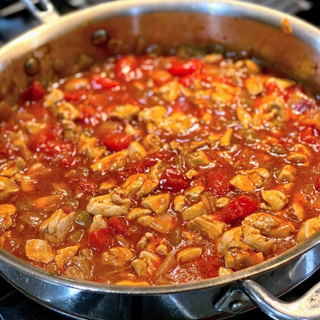 meat and veggie filling for healthy enchiladas in pan