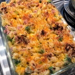 Mac and Cheese Shell Casserole with Ham and Broccoli in casserole dish