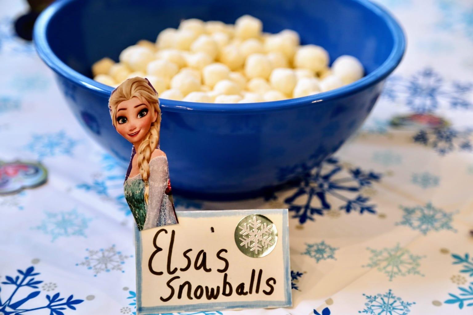 Elsa snowball snack