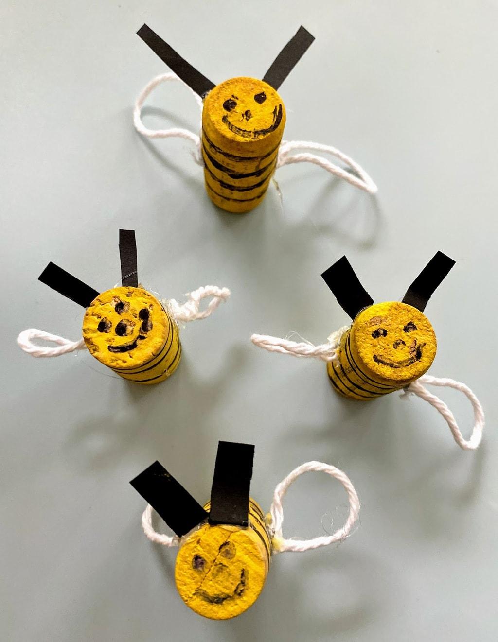 Four DIY Cork Honeybees