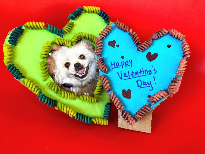 two homemade heart shaped frames with dog photo and valentine's message
