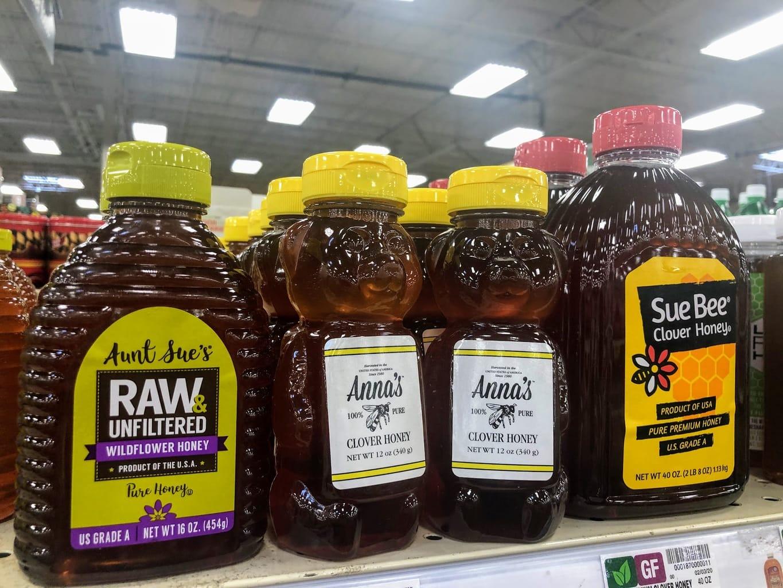 bottles of honey in store