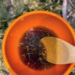stirring honey garlic sauce
