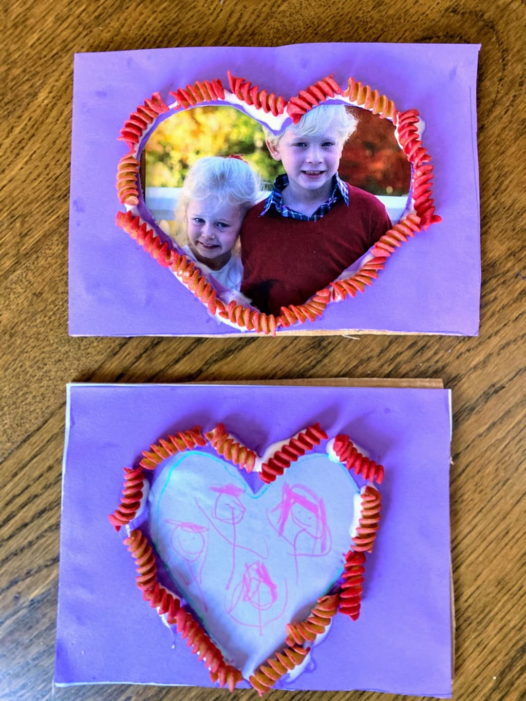 two heart shaped frames with rotini