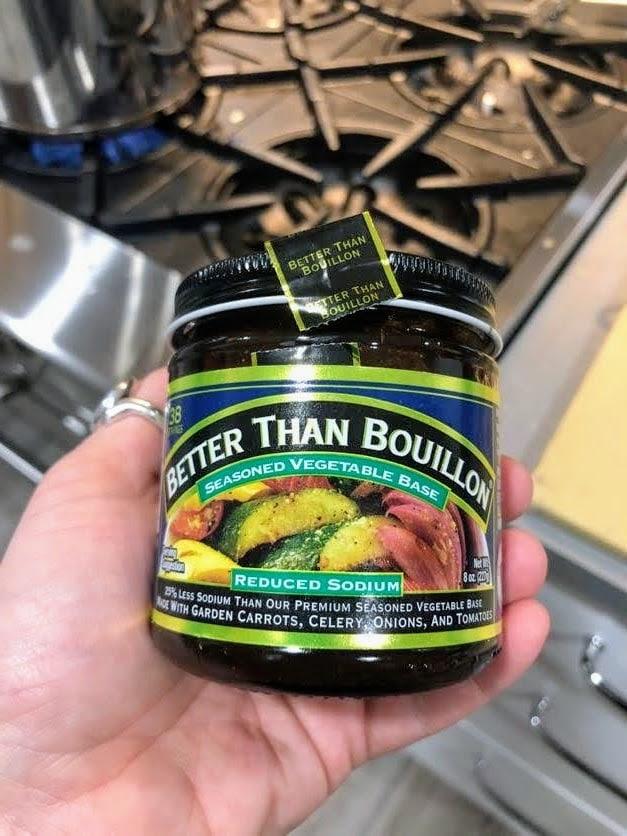 hand holding jar of Better than Bouillon Vegetable Base