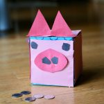 Pink Piggy bank made from tissue box
