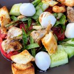 Panzanella Salad with Chicken & Mozzarella plated