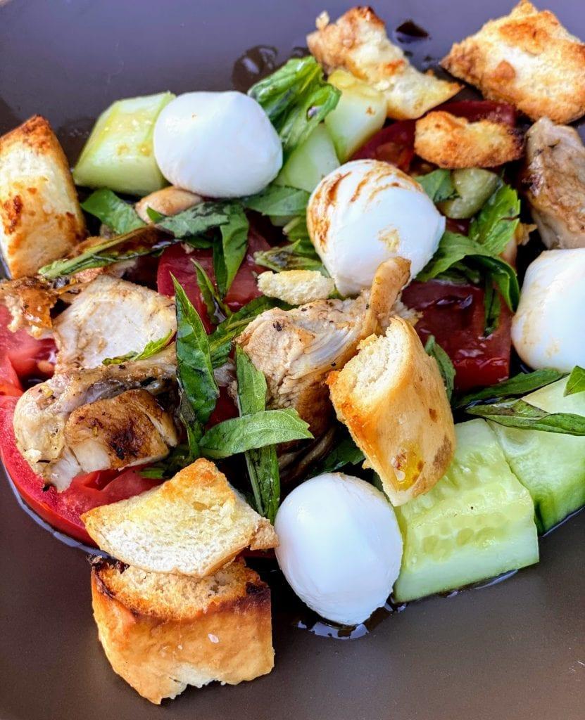 Panzanella Salad with Chicken & Mozzarella plated