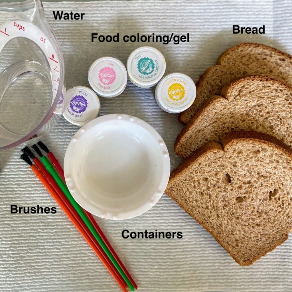 water, food coloring, bread, containers and brushes
