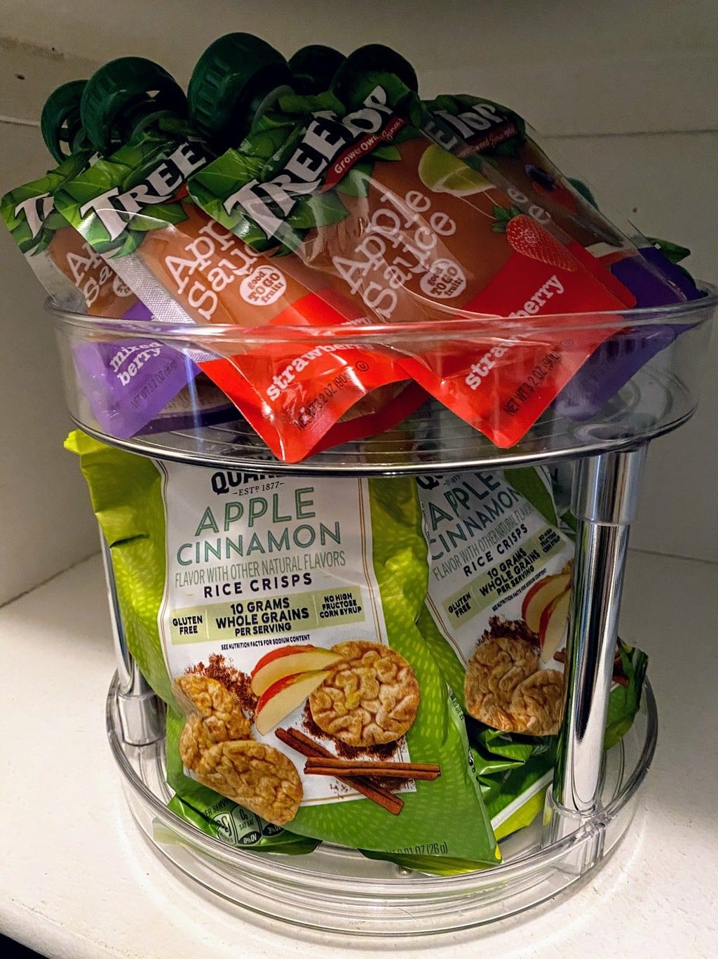 2-Tier Lazy Susan filled with applesauce pouches and rice cracker snack bags