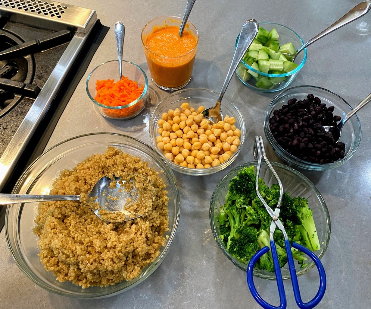 romesco recipe ingredients in different bowls on counter