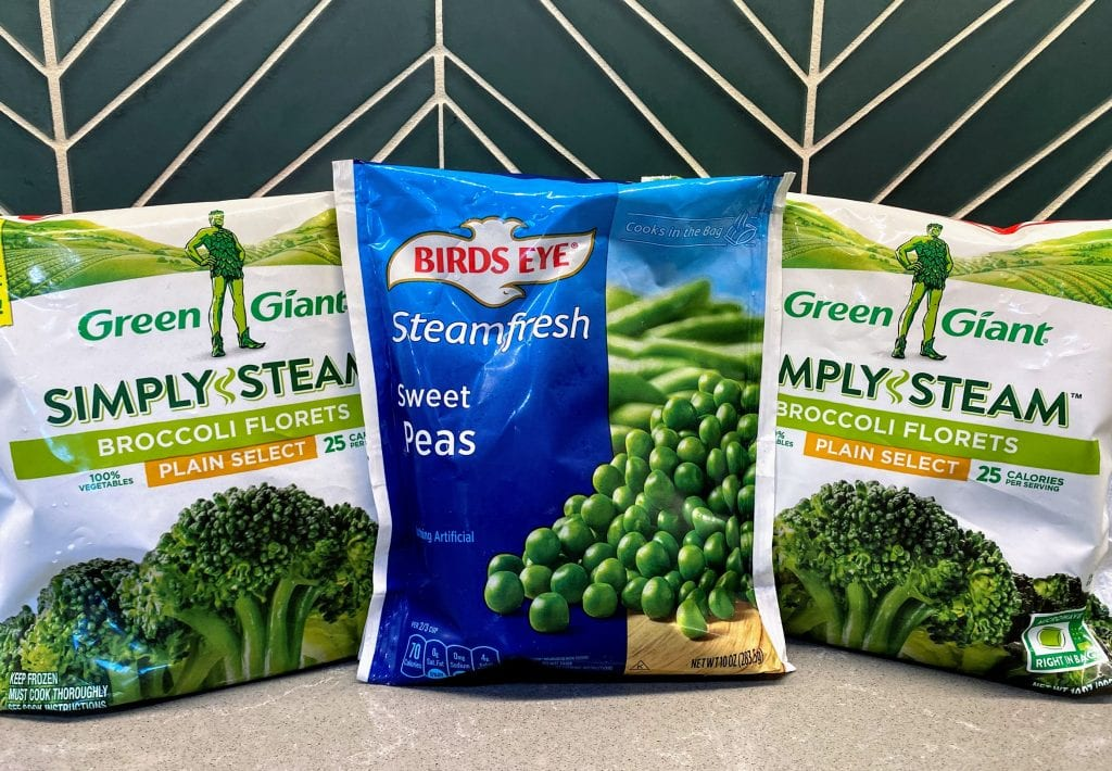 2 bags of steamable broccoli and 1 bag of steamable peas
