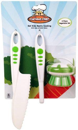 package of green & white Curious Chef knife, peeler & scrubber