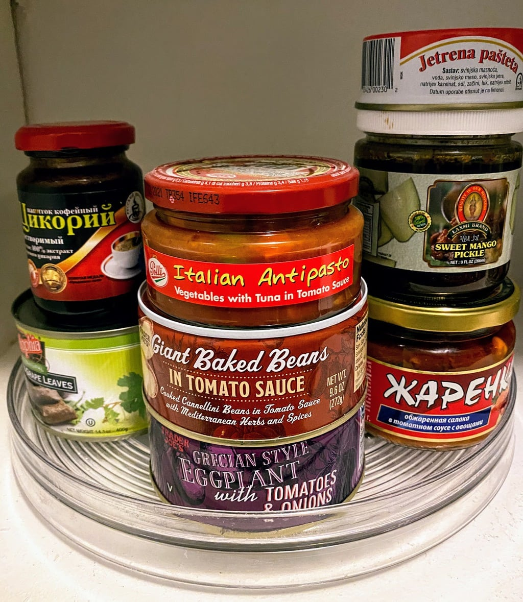 Lazy Susan filled with specialty and international canned goods