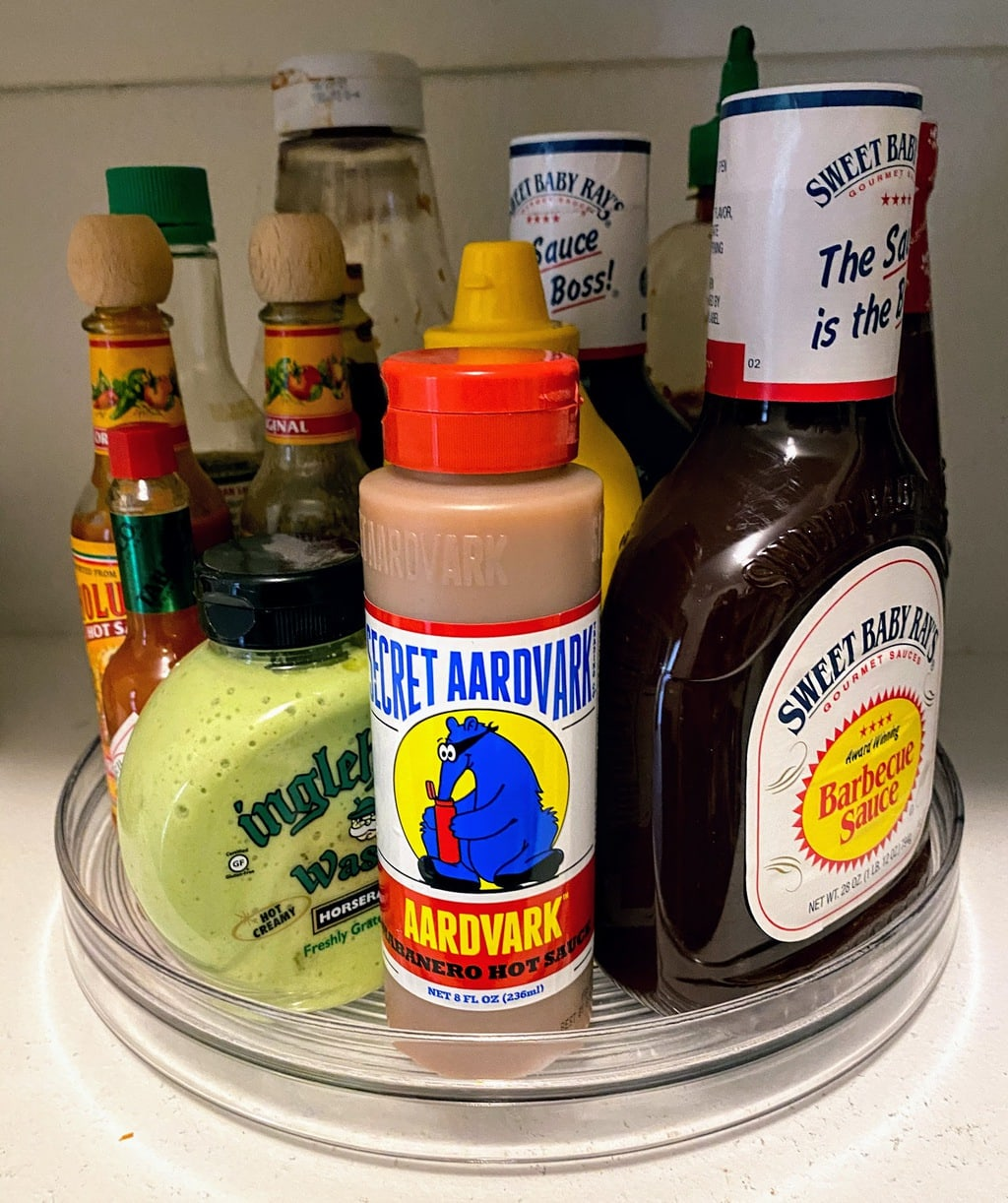 Lazy Susan filled with condiments