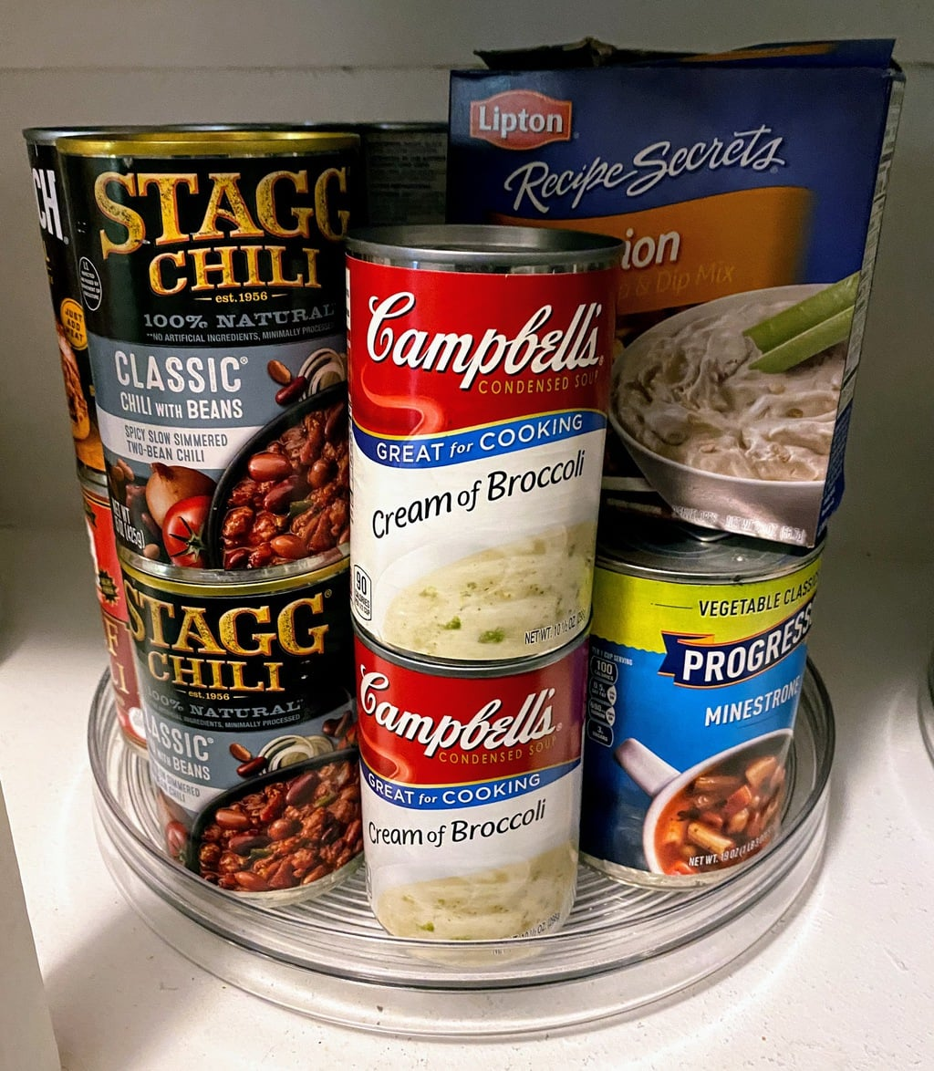 Lazy Susan full of soup and bean cans