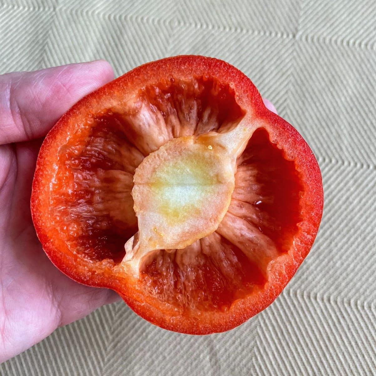 red top of bell pepper