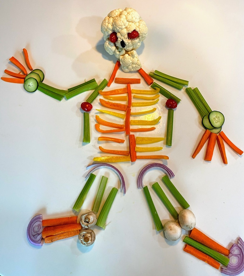 skeleton made out of veggies