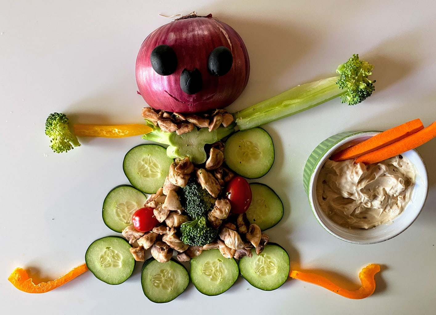 fun monster made out of veggies 2