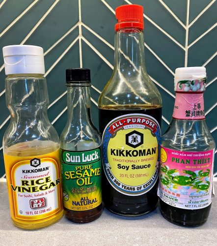 rice vinegar, sesame oil, soy sauce, fish sauce