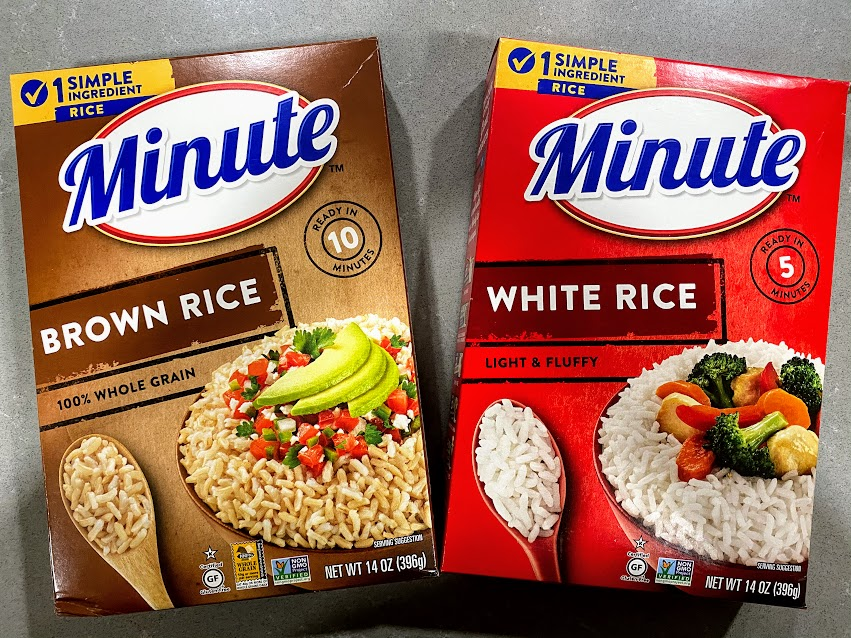 2 boxes of minute rice: white and brown
