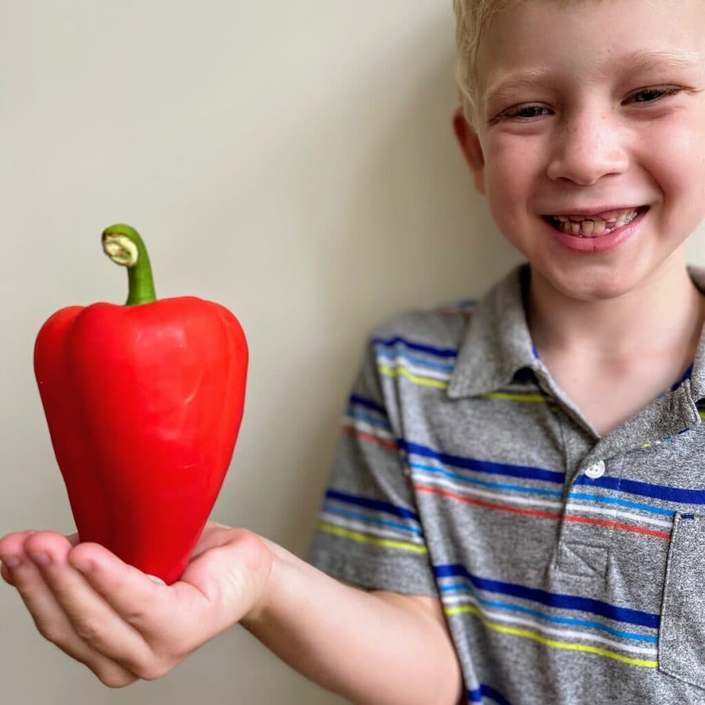 child holding red bell pepper