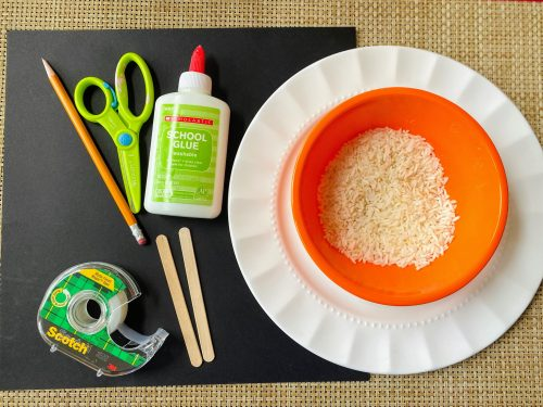 supplies for Rice Ghost Craft.