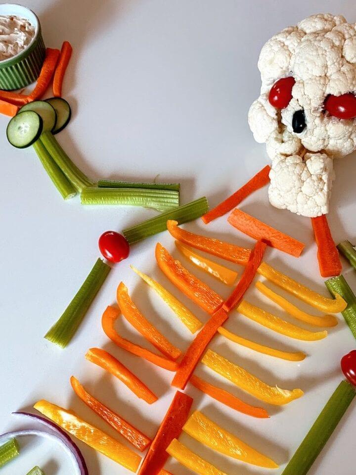 skeleton veggies with dip