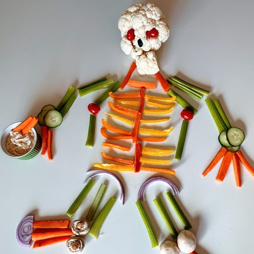 Skeleton veggie tray on table