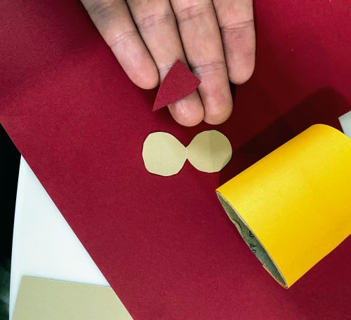 cut out red beak for owl napkin ring
