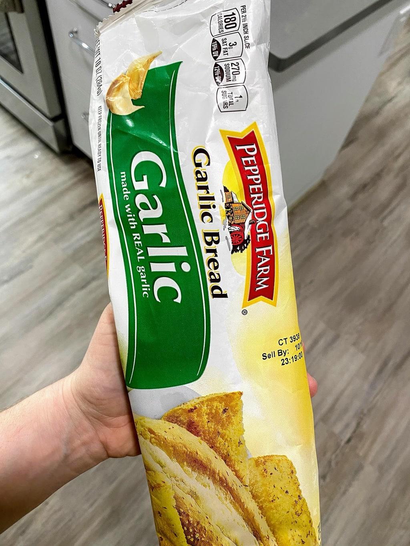 bag of frozen Pepperidge Farm Garlic Bread