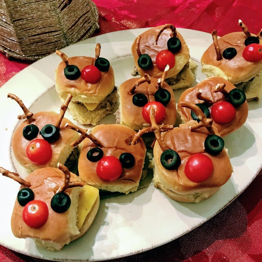 reindeer Christmas burgers on a white plate