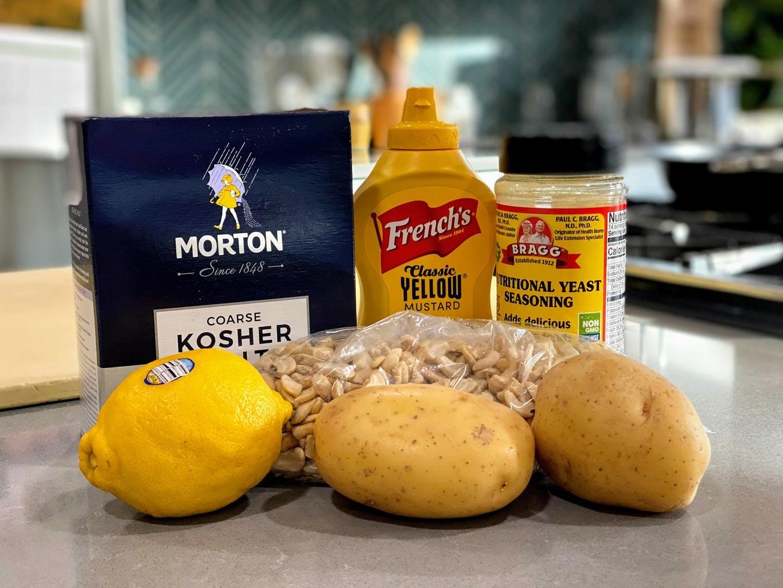 salt, mustard, nutritional yeast, lemon, cashews and potatoes for vegan mac and cheese